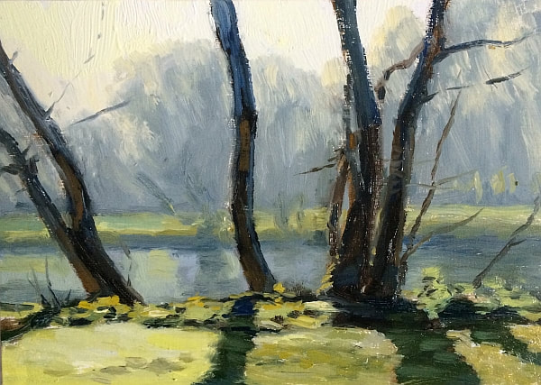 oil painting of trees on the bank of the River Thames in Orleans Gardens, Twickenham.  A Very bright frosty morning, a blue haze over the distant bank and trees