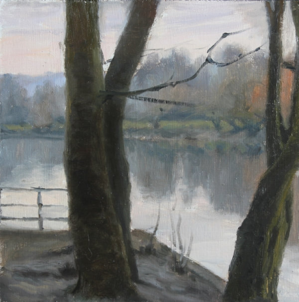 realist impressionist British landscape oil painting of a view between trees looking towards Richmond hill. The river Thames is very still with clear reflections. A grey January day.