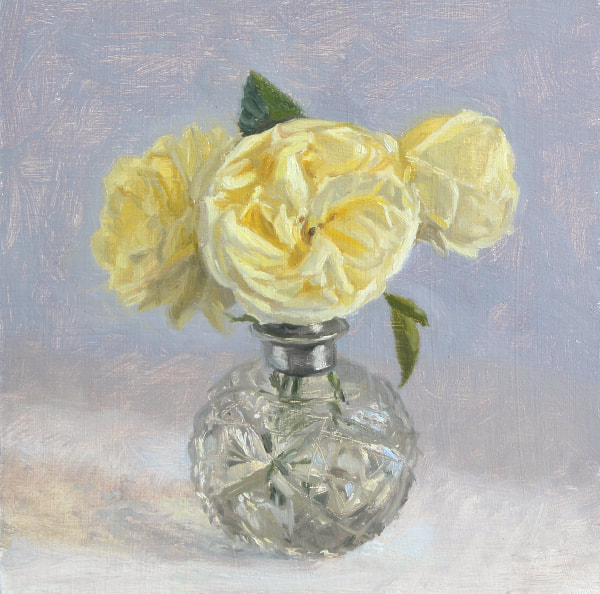 Realist, impressionist, contemporary realism, alla prima oil painting of cream roses in an Edwardian cut glass perfume bottle by Rosemary Lewis