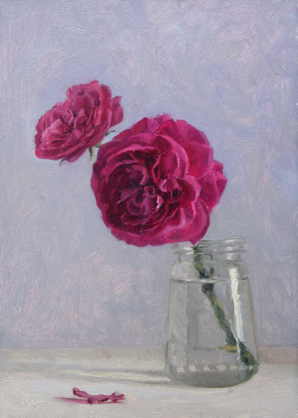 Realist, impressionist, contemporary realism, alla prima oil painting of deep pink roses (Gertrude Jekyll by David Austin) in a glass jar by Rosemary Lewis