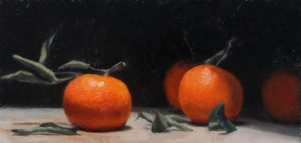 realist oil painting alla prima still life clementines by Rosemary Lewis