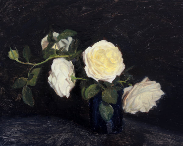 Realist, impressionist, contemporary realism, alla prima oil painting of cream roses by Rosemary Lewis