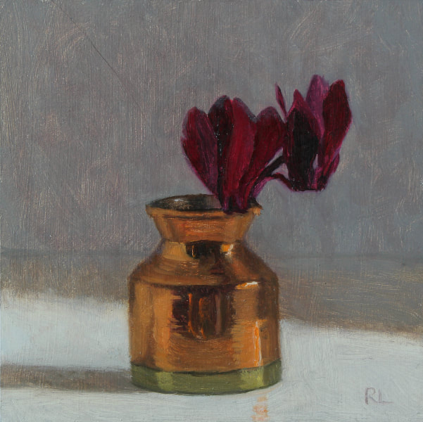 Realist, impressionist, contemporary realism, alla prima oil painting of cyclamen in a copper jug by Rosemary Lewis