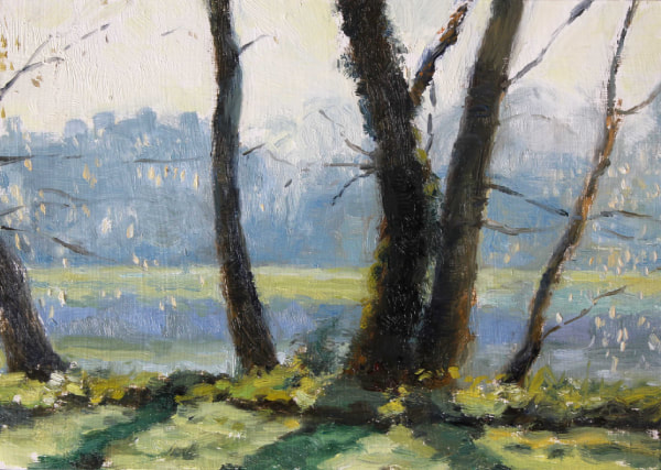 realist impressionist British landscape early Spring Morning, oil painting of the Thames near Twickenham, looking through trees with catkins