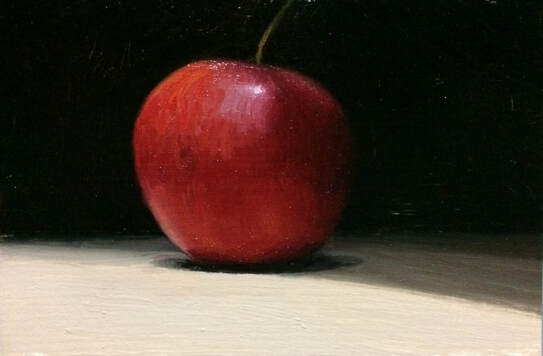 Daily oil painting of a shiny red apple set against a black background