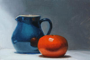 original oil painting of blue jug and clementine