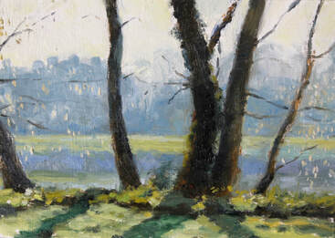 Oil painting of trees by the river Thames, Twickenham on a spring morning Picture