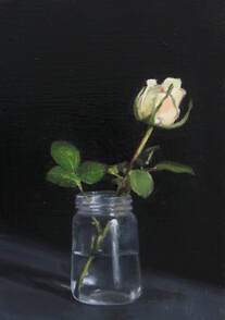 Realist oil floral flower painting of cream rose in glass jar