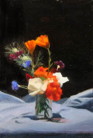 Original realist still life flower floral oil painting of flowers in a glass jar.  Nasturtiums, roses, sweet peas, cornflowers, nigella, calendula