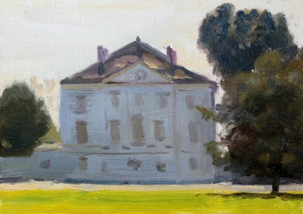 Plein air realist impressionist oil painting of Marble Hill house Twickenham.  British landscape architecture painting or English Heritage owned site.