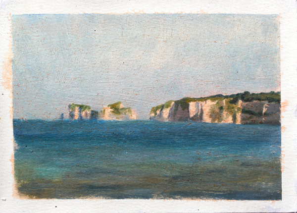 Realist impressionist plein air landscape painting by Rosemary Lewis. Old Harry Rocks in late afternnoon light seen from Studland Bay