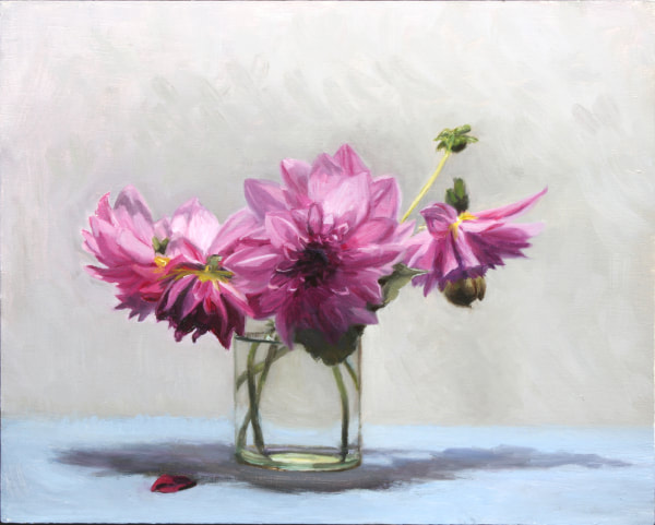 Realist, impressionist, contemporary realism, alla prima oil painting of pink dahlias in a glass jar by Rosemary Lewis