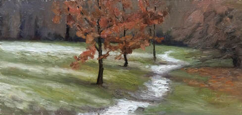 Plein air landscape realist impressionist oil painting, started outdoors in Marble Hill Park, Twickenham and completed in my studio. A light sprinkling of snow along a path leading into distant woods. Orange-brown leaves contrast with the green grass and purplish hue of the furthest trees.