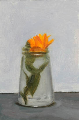 Original oil painting of orange calendula flower in a glass jar