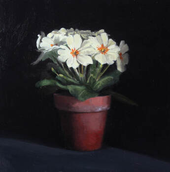 Oil painting of primroses in a pot
