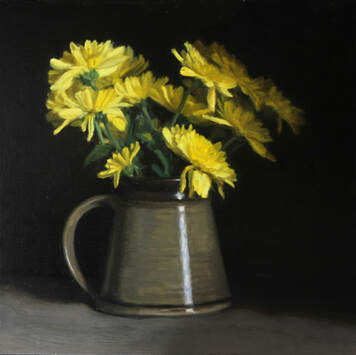Realist still life flower floral oil painting of yellow chrysanthemums in a stonewear jar