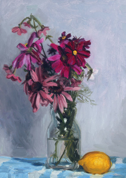 Realist, impressionist, contemporary realism, alla prima oil painting of cottage garden flowers in a glass jar, including cosmos, nicotiana and echinacea, on a blue and white striped cloth with lemon by Rosemary Lewis