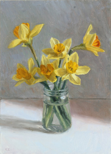 Realist, impressionist, contemporary realism, alla prima oil painting of daffodils in a glass jar by Rosemary Lewis