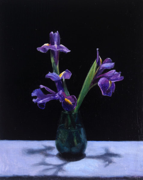Realist, impressionist, contemporary realism, alla prima oil painting of irises by Rosemary Lewis