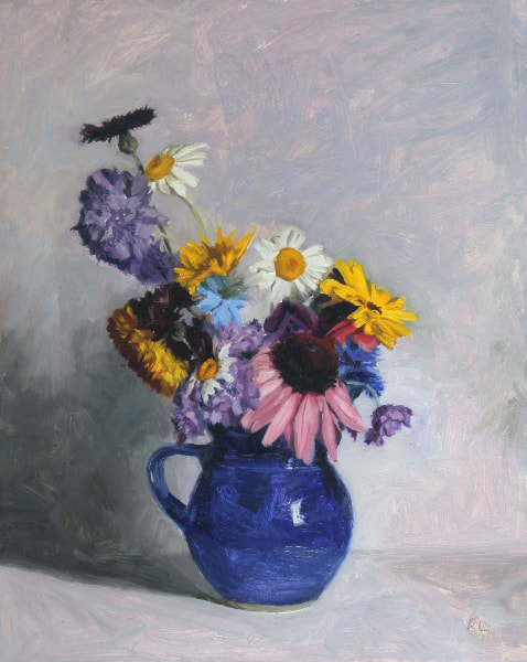 Realist, impressionist, contemporary realism, alla prima oil painting of cottage garden flowers including Echinacea, Nigella, Cornflowers, Scabious, Dahlias by Rosemary Lewis