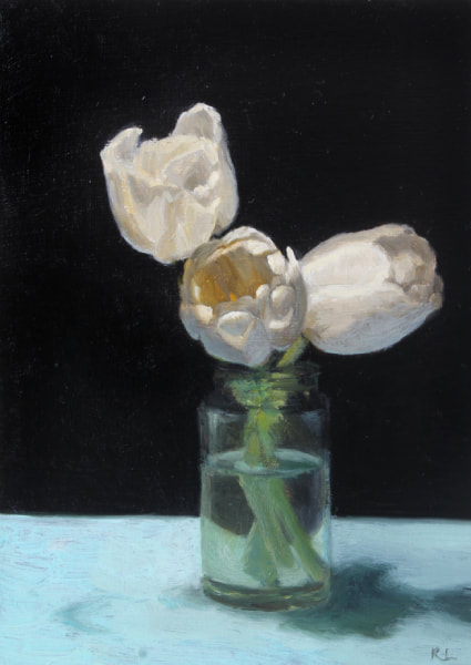 Realist, impressionist, contemporary realism, alla prima oil painting of white tulips by Rosemary Lewis