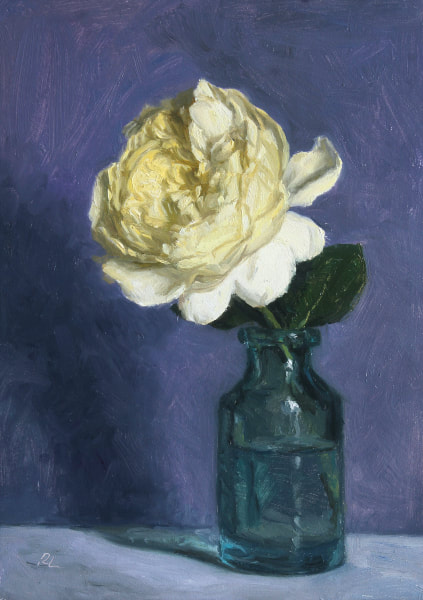 Realist, impressionist, contemporary realism, alla prima oil painting of a yellow rose (Charles Darwin by David Austin) in a victorian green glass bottle by Rosemary Lewis