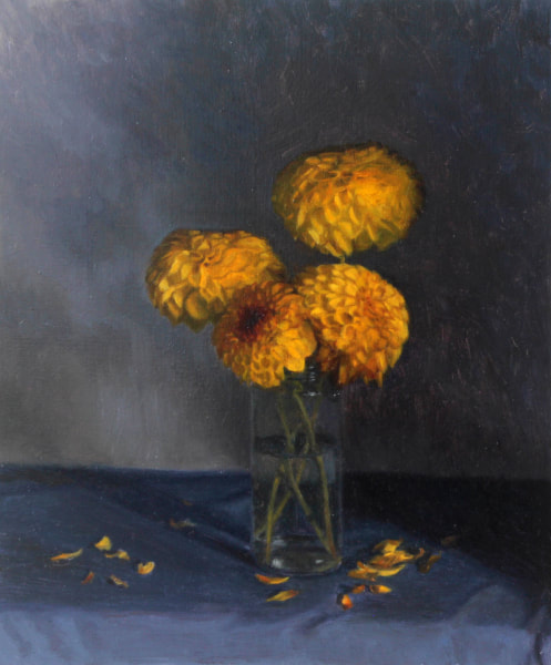 Realist, impressionist, contemporary realism, alla prima oil painting of yellow dahlias by Rosemary Lewis