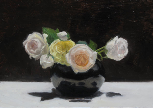 Realist, impressionist, contemporary realism, alla prima oil painting of roses by Rosemary Lewis