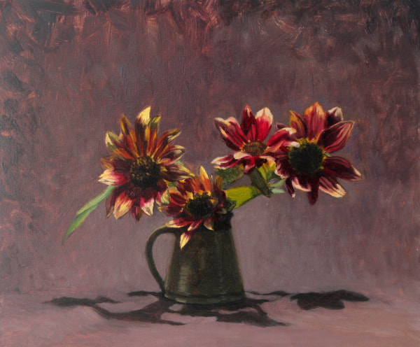 Realist, impressionist, contemporary realism, alla prima oil painting of sunflowers by Rosemary Lewis
