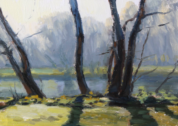 realist impressionist British landscape oil painting looking accross the Thames near Twickenham through trees, on a frosty morning