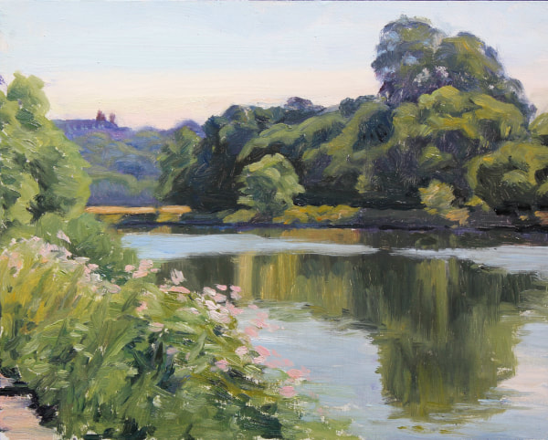 traditional landscape realist  impressionist oil painting or the river Thames near Twickenham, looking towards richmond hill and the royal Star and Garter Home. A sunny summer day in July, with reflections of trees in the river and wild flowers on the banks.