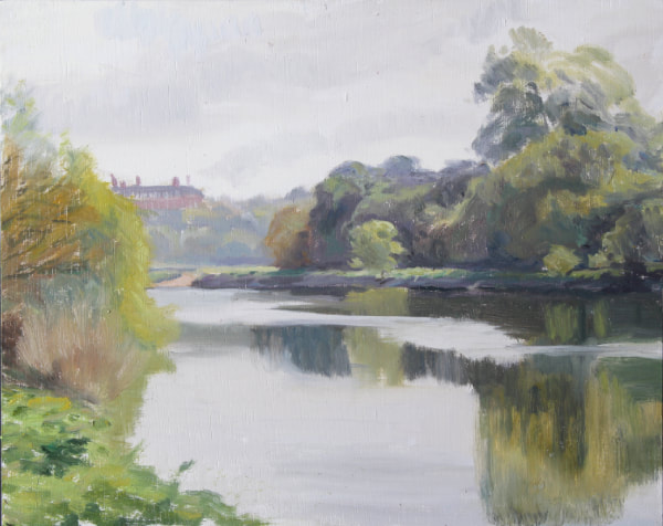 British UK Plein air impressionist realist landscape oil painting of River Thames from Twickenham bank, looking towards Richmond Hill and Royal  Star and Garter Home.  May morning, reflections