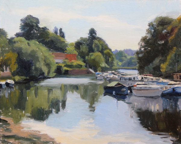 Traditional realist impressionist oil painting by Rosemary Lewis of Twickenham riverside on a sunny summer July morning.  reflections of boats moored by the Eel pie island, and trees and clouds.