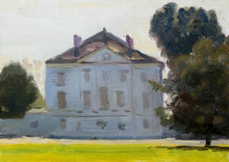 Original plein air impressionist realist landscape oil painting of Marble Hill House Twickenham