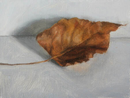 Winter leaf, original oil painting. A Brown, dried curled leaf from a poplar tree