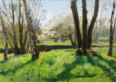 Realist impressionist plein air oil painting of spring sunshine through trees in Orleans House Gallery woods, Twickenham